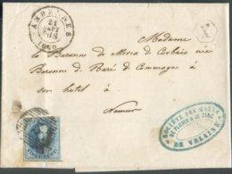 N°11A - Médaillon 20 Centimes Obl. P.3 Sur Lettre D'ANDENNES Le 21-09-1860 + Boîte Hexagonale X De VERLAINE Vers Namur - - 1858-1862 Medallones (9/12)