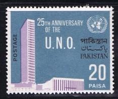 1970  Variety - Error  UN 25th Anniversary 20 Paisa Missing Yellow Color SG 291 MNH - Pakistan