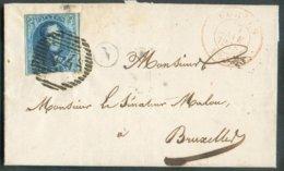N°7 - Médaillon 20 Centimes Obl. P.44 Sur Lettre De FURNES Le 23-01-1856 + Boîte N De ALVERINGHEM Vers Bruxelles - 14716 - 1851-1857 Medallones (6/8)