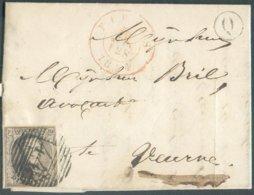 N°6 - Médaillon 10 Centimes Obl. P.44 Sur Lettre De FURNES Le 10-01-1854 + Boîte Q De PERVYSE Vers Veurne - 14717 - 1851-1857 Medallones (6/8)
