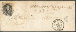 N°10A - Médaillon 10 Centimes Obl. P.44 Sur Enveloppe De FURNES Le 4-07-1858 + Boîte Rurale D Vers Nieuport - 14718 - 1851-1857 Medallones (6/8)