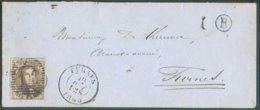 N°10A - Médaillon 10 Centimes Obl. P.44 Sur Enveloppe De FURNES Le 12-08-1860 + Boîte Rurale B Vers Furnes - 14719 - 1851-1857 Medallones (6/8)