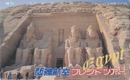 RARE TC Japon / 110-011 - Site EGYPTE - ABOU SIMBEL ARCHEOLOGIE - EGYPT Rel Japan Phonecard - Série HANSHIN AIRLINES 198 - Landschaften