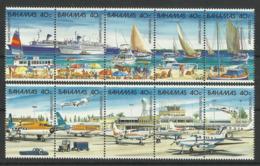 BAHAMAS 1987 TOURIST TRANSPORT,AIRCRAFT,SHIPS,BOATS STRIPS MNH - Unclassified