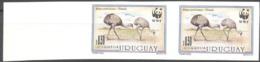 Uruguay 1993, WWF, Ostric, 2val IMPERFORATED - Errori Sui Francobolli
