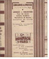 44 - NANTES - Beau Protège Livre , Publicité De La Librairie De La Presse Et Grande Pharmacie De PARIS Place Royale - Produits Pharmaceutiques
