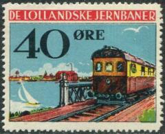 Denmark 1935 DE LOLLANDSKE JB 40 ø. Railway Parcel Eisenbahn Paketmarke Chemin De Fer TRAIN Yacht BRIDGE Ship LIGHTHOUSE - Trenes
