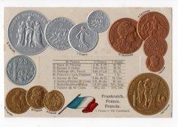 11 - MONNAIE - FRANCE -  Représentation Des Pièces De Monnaie   *en Relief*embossed* - Monete (rappresentazioni)