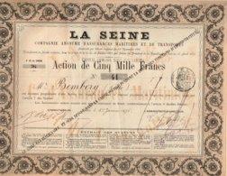 Titre Ancien - La Seine - Compagnie Anonyme D'Assurances Maritimes Et De Transports - Titre De 1876 - Rare - Banca & Assicurazione