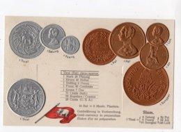 14 - MONNAIE - SIAM - Représentation Des Pièces De Monnaie  *en Relief*embossed* - Monete (rappresentazioni)