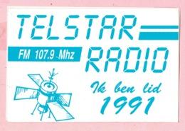 Sticker - TELSTAR RADIO Ik Ben Lid 1991 - FM 107.9 Mhz - Autocollants