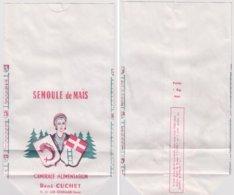 Ancien Sachet Papier Neuf Semoule De Mais . Epicerie René Cuchet. - Publicité
