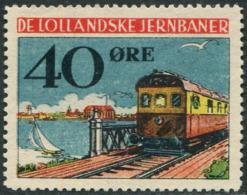 Denmark 1946 DE LOLLANDSKE JB 40 ø. Railway Parcel Eisenbahn Paketmarke Chemin De Fer TRAIN Ship BRIDGE Yacht LIGHTHOUSE - Trenes