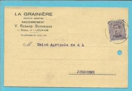 """139 Op Kaart Stempel LOUVAIN, Met Firmaprforatie (perfin) """"L.G."""" Van LA GRAINIERE - Perfins"""