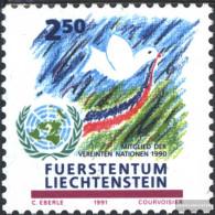 Liechtenstein 1015 (complete Issue) Unmounted Mint / Never Hinged 1991 UN-Accession - Liechtenstein