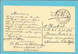 Kaart Met Stempel LEUVEN / LOUVAIN 1B Zonder Datummidden Naar Armee Belge - Postmark Collection