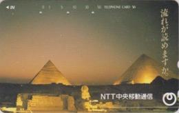 Télécarte Japon / 110-121075 - Site EGYPTE - PYRAMIDE SPHINX & Sunset - EGYPT Rel. Japan Phonecard - 210 - Landschaften