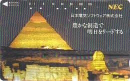 Télécarte DOREE Ancienne Japon / 110-011 - Site EGYPTE - PYRAMIDE & SPHINX - EGYPT Rel. Japan GOLD Phonecard - 211 - Landschaften
