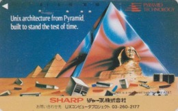 Télécarte Ancienne Japon / 110-011 - Site EGYPTE - SPHINX & PYRAMIDE ** SHARP **  - EGYPT Related Japan Phonecard - 215 - Cultura
