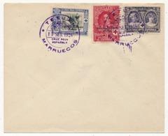 "MAROC ESPAGNOL - Enveloppe Affr. Composé TP Surchargés ""Zona Protectorado Espanol"" TETUAN 1926 - Maroc Espagnol"