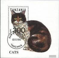 Tanzania Block201 (complete Issue) Fine Used / Cancelled 1992 Cats - Tanzania (1964-...)