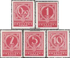 Croatia P6-P10 (complete Issue) Unmounted Mint / Never Hinged 1941 Porto Brand - Croatia