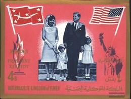 Yemen (UK) Block16 (complete Issue) Unmounted Mint / Never Hinged 1965 President Kennedy - Yemen