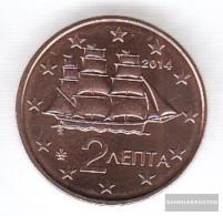 Greece Grams 2 2014 Stgl./unzirkuliert 2014 Kursmünze 2 Cent - Grèce
