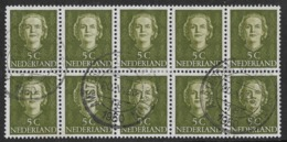 Netherlands SG684 1949 Definitive 5c Block Of 10 Good/fine Used [32/174/6D] - Period 1949-1980 (Juliana)