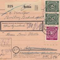 BiZone Paketkarte 1947: Brilon Nach Hildesheim, Nachs. Feilnbach, Wertkarte - Zone AAS