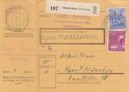BiZone Paketkarte 1948: Gebr. Bracke Marmorwerk, Westerham Nach Haar - Zone AAS