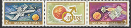Hungary 2739A-2740A Triple Strip (complete Issue) Unmounted Mint / Never Hinged 1972 Mars-Research - Unused Stamps
