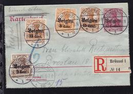 Germania 10 Pfg. Mit Aufdruck Belgien 10 Centimes Mit Zusatzfrankatur   - Occupation 1914-18