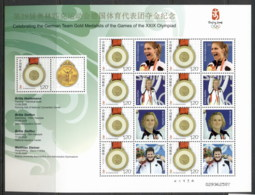 China PRC 2008 Olympics, German Team Gold Medallists Sheetlet, Heidemann-Steiner Sheetlet MUH - 1949 - ... People's Republic