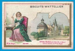 IMAGE BISCUITS DE LUXE J. WATTELIER LA FERTE-BERNARD / IMP LA LITHOGRAPHIE L'ARISIENNE PARIS / Me DE SEVIGNE CHATEAU DES - Confiserie & Biscuits