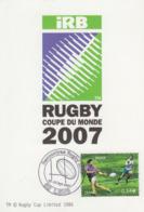 Carte  Maximum   FRANCE   COUPE  DU  MONDE  DE  RUGBY     LENS   2007 - Rugby