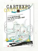 Cp, Bourses & Salons De Collections, La Mutualité , Paris, CARTEXPO ,1987, Illustrateur Y.Mauger, 2 Scans - Borse E Saloni Del Collezionismo