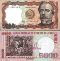 Peru Pick-number: 117c Uncirculated 1985 5.000 Soles Oro - Peru