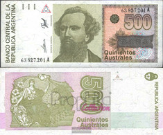 Argentina Pick-number: 328b Uncirculated 1986 500 Australes - Argentina