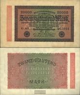 German Empire Rosenbg: 84e, Watermark Hakensterne 6stellige Kontrollnummer Used (III) 1923 20.000 Mark - 20000 Mark