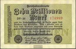 German Empire RosbgNr: 105a, Watermark Hakensterne 6stellige Kontrollnummer Uncirculated 1923 10 Million Mark - [ 3] 1918-1933 : Repubblica  Di Weimar