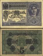 German Empire Rosenbg: 54c, 8stellige Kontrollnummer, Vs. Grauviolett Used (III) 1917 5 Mark - [ 2] 1871-1918 : German Empire