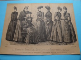 Mode De PARIS ( Journal Des DEMOISELLES Et Petit Courrier .....> 4 Exempl. ) Format Plier ( Voir Photo Svp ) +/- 1885 ! - Estampes & Gravures