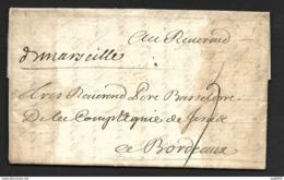 Bches Du Rhone-Lettre (De Alger) Avec Marque Manuscrite De Marseille Lenain N°1-1700-Pour Bordeaux - Marcophilie (Lettres)