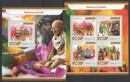 QQ595 2017 DJIBOUTI GREAT HUMANISTS TRIBUTE TO MAHATMA GANDHI KB+BL MNH - Mahatma Gandhi
