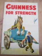 Guinness Beer For Strenghth Bier Reclame 1957 21 Op 30 Cm Met Taxzegel - Uithangborden