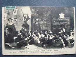 51 ,bombardements De Reims ,les écoles Dans Les Caves à Champagne En 1916......circulée Timbrée.......rare - Reims