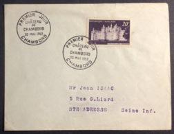 37-1 Château De Chambord 924 FDC Premier Jour Chambord 30/5/1952 Lettre Enveloppe - FDC