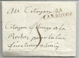 MARQUE CONQUIS MONT BLANC 84 CARROUGE 12 NIVOSE AN 3 LETTRE POUR LA ROCHE TAXE 5 - 1792-1815: Conquered Departments