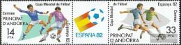 Andorra - Spanish Post 155-156 Triple Strip (complete Issue) Unmounted Mint / Never Hinged 1982 Football - Spanish Andorra